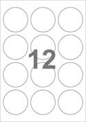 A4-etiketter, 12 etiketter/pr. ark, Ø60 mm, hvid med permanent lim, til din inkjet eller laser bordprinter.