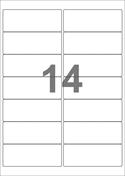 A4-etiketter, 14 etiketter/pr. ark, 99,1 x 38,1 mm, hvid med permanent lim, til din inkjet eller laser bordprinter.