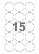 A4-etiketter, 15 etiketter/pr. ark, Ø50 mm, hvid med permanent lim, til din inkjet eller laser bordprinter.
