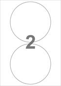 2 udstansede etiketter/A4-ark, Ø140,0 mm, hvid mat, permanent lim, 100 ark. Til din inkjet eller laser bordprinter.