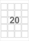 A4-etiketter, 20 etiketter/pr. ark, 45 x 45 mm, hvid med permanent lim, til din inkjet eller laser bordprinter.