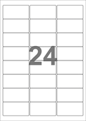 A4-etiketter, 24 etiketter/pr. ark, 64 x 33,9 mm, hvid med permanent lim, til din inkjet eller laser bordprinter.