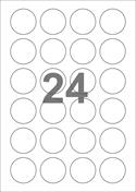 A4-etiketter, 24 etiketter/pr. ark, Ø40 mm, hvid med permanent lim, til din inkjet eller laser bordprinter.