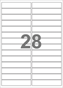 A4-etiketter, 28 etiketter/pr. ark, 99 x 20 mm, hvid med permanent lim, til din inkjet eller laser bordprinter.