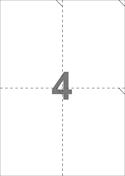A4-etiketter, 4 etiketter/pr. ark, 105 x 147,64 mm, perforerede, hvid med permanent lim, til din inkjet eller laser bordprinter.