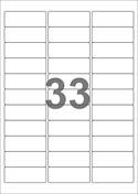 A4-etiketter, 33 etiketter/pr. ark, 64 x 24,3 mm, hvid mat med permanent lim, til din inkjet eller laser bordprinter.