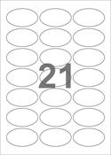 A4-etiketter, 21 ovale etiketter/pr. ark, 60 x 35 mm, hvid med permanent lim, til din inkjet eller laser bordprinter.