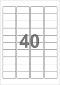 A4-etiketter, 40 etiketter/pr. ark, 45,7 x 25,4 mm, hvid med permanent lim, til din inkjet eller laser bordprinter.