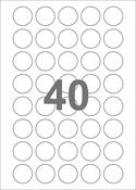 A4-etiketter, 40 runde etiketter/pr. ark, Ø30 mm, hvid med permanent lim, til din inkjet eller laser bordprinter.