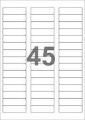 A4-etiketter, 45 etiketter/pr. ark, 58 x 17,8 mm, hvid med permanent lim, til din inkjet eller laser bordprinter.