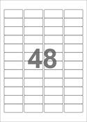 A4-etiketter, 48 etiketter/pr. ark, 45,7 x 21,2 mm, hvid med permanent lim, til din inkjet eller laser bordprinter.