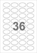 A4-etiketter, 36 ovale etiketter/pr. ark, 40 x 25 mm, hvid med permanent lim, til din inkjet eller laser bordprinter.