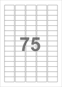 A4-etiketter, 75 etiketter/pr. ark, 34 x 18 mm, hvid med permanent lim, til din inkjet eller laser bordprinter.