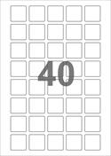 A4-etiketter, 40 etiketter/pr. ark, 30 x 30 mm, hvid med permanent lim, til din inkjet eller laser bordprinter.