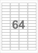A4-etiketter, 64 etiketter/pr. ark, 45,7 x 16,9 mm, hvid med permanent lim, til din inkjet eller laser bordprinter.