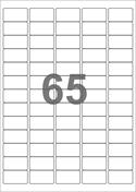 A4-etiketter, 65 etiketter/pr. ark, 38,1 x 21,2 mm, hvid med permanent lim, til din inkjet eller laser bordprinter.