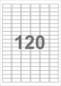 A4-etiketter, 120 etiketter/pr. ark, 30 x 14 mm, hvid med permanent lim, til din inkjet eller laser bordprinter.
