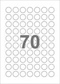 A4-etiketter, 70 runde etiketter/pr. ark, Ø20 mm, hvid med permanent lim, til din inkjet eller laser bordprinter.