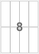 A4-etiketter, 8 etiketter/pr. ark, 50 x 140 mm, hvid med permanent lim, til din inkjet eller laser bordprinter.