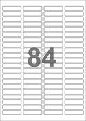 A4-etiketter, 84 etiketter/pr. ark, 46 x 11,1 mm, hvid med permanent lim, til din inkjet eller laser bordprinter.